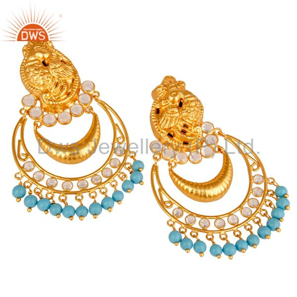 Exporter Turquoise and CZ 18K Gold Plated Sterling Silver Jhumka Earring Temple Jewelry