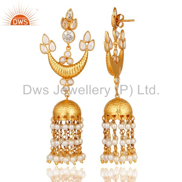 Exporter White CZ and Pearl 18K Gold Plated Sterling Silver Traditional jhumka Earring
