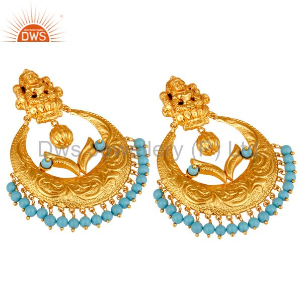 Exporter Cultured Turquoise 18K Gold Plated Sterling Silver Temple Jewelry Earring