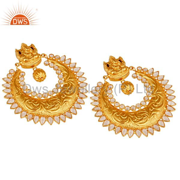 Exporter Pearl and 18K Gold Plated Sterling Silver Temple Jewelry Earring