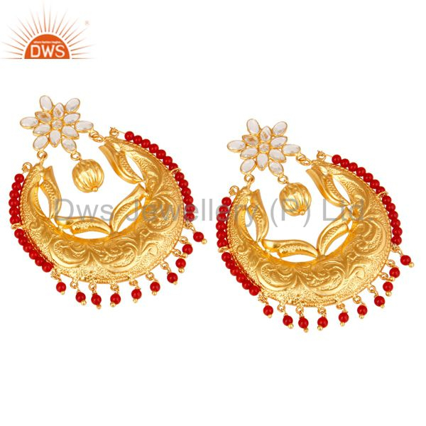 Exporter Coral & White Zircon 18K Gold Plated Sterling Silver Temple Jewelry Earrings