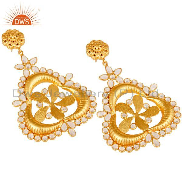 Exporter White Zircon 18K Gold Plated Sterling Silver Earring
