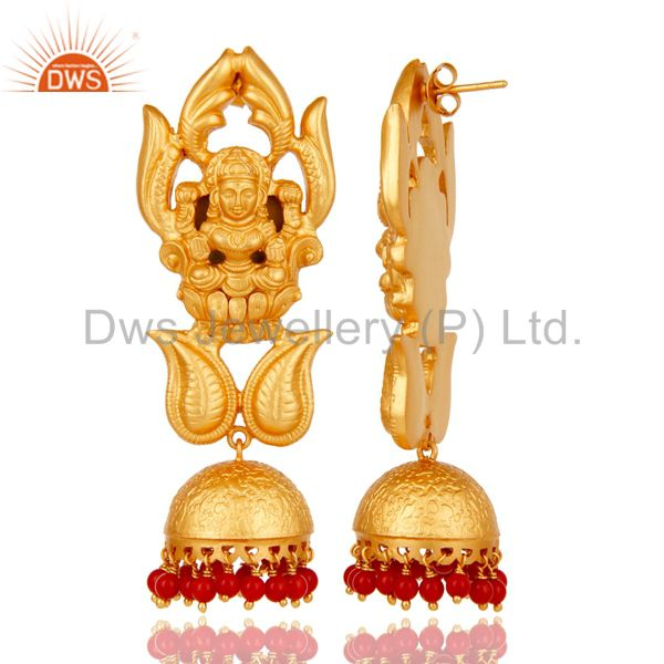 Exporter Cultured Coral and 18K Gold Plated Sterling Silver Jhumka Earring Temple Jewelry