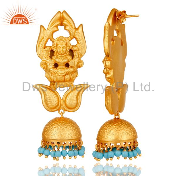 Exporter Cultured Turquoise 18K Gold Plated Sterling Silver Jhumka Earring Temple Jewelry