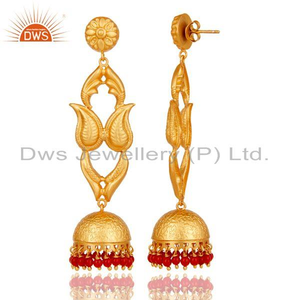 Exporter 18K Gold Plated Sterling Silver Coral Jhumka Earring Traditional