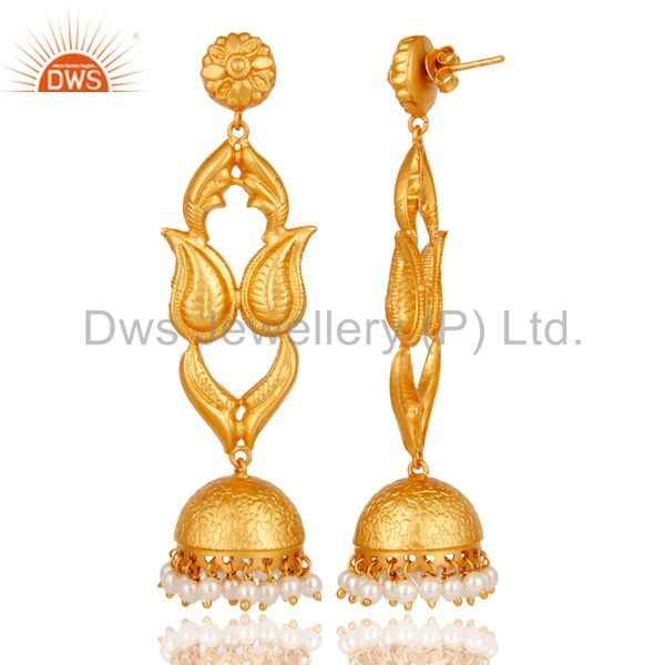 Exporter 18K Gold Plated Sterling Silver Pearl Jhumka Earring Traditional