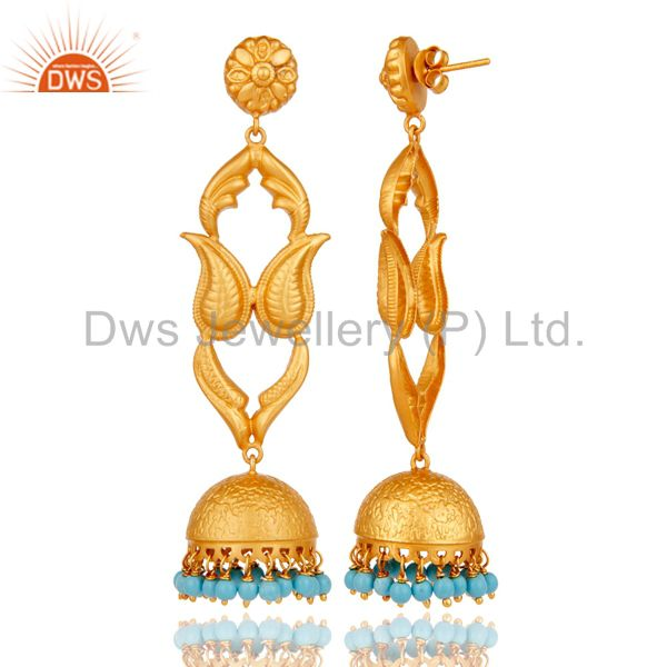 Exporter 18K Gold Plated Sterling Silver Turquoise Jhumka Earring Traditional
