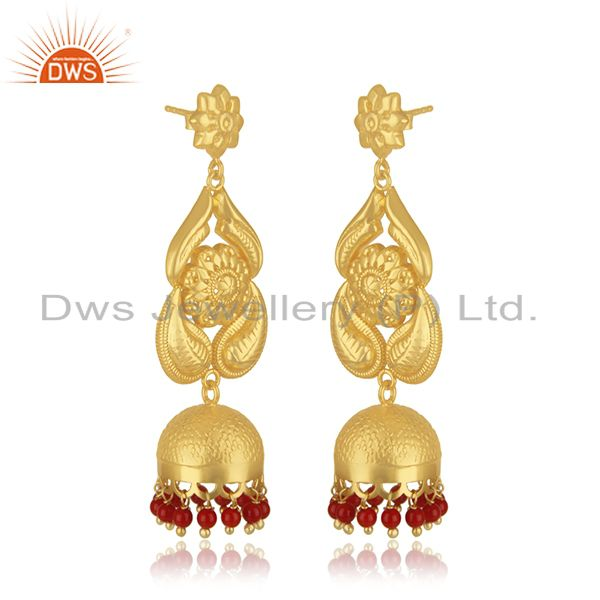 Exporter 18K Gold Plated Sterling Silver Traditional Jhumka Earring With Coral