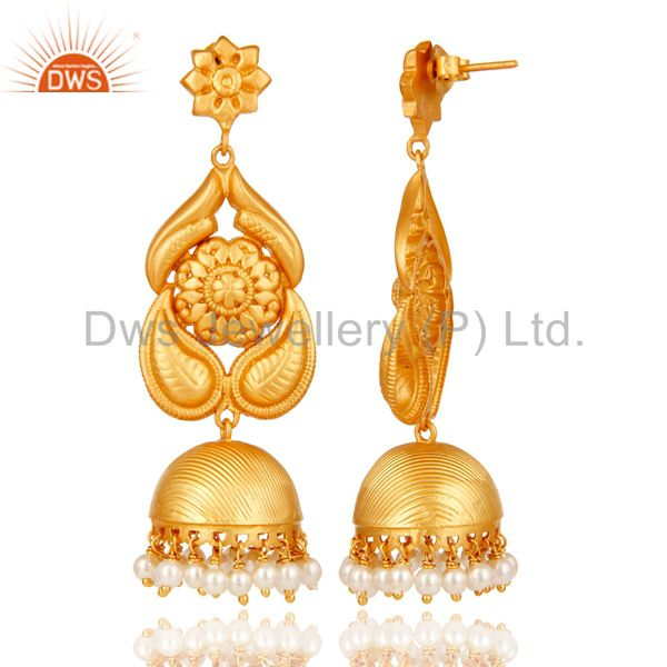 Exporter 18K Gold Plated Sterling Silver Traditional Jhumka Earring With Pearl