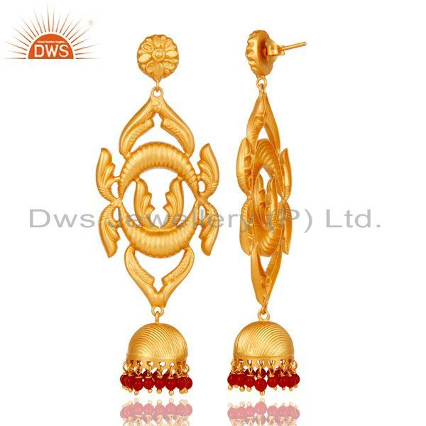 Exporter 18K Gold Plated Sterling Silver Traditional Design Jhumka Earring With Coral