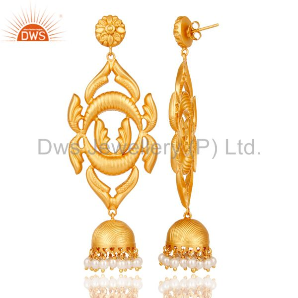 Exporter 18K Gold Plated Sterling Silver Traditional Design Jhumka Earring With Pearl