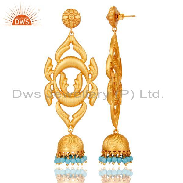 Exporter 18K Gold Plated Traditional 925 Sterling Silver Turquoise Jhumka Earrings