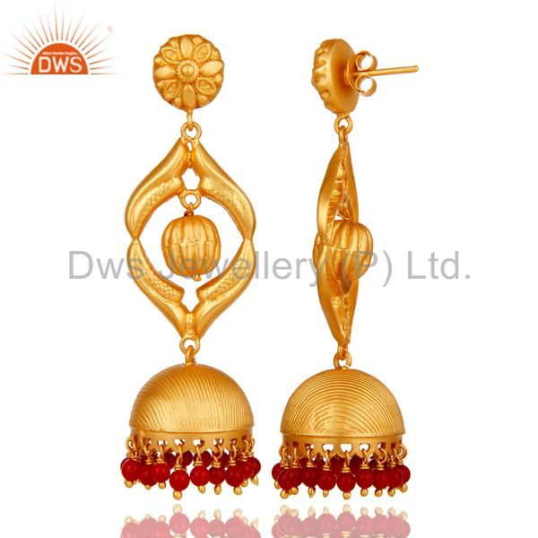 Exporter Cultured Coral Traditional Jhumka Earring 18K Gold Plated Sterling Silver Jhumki