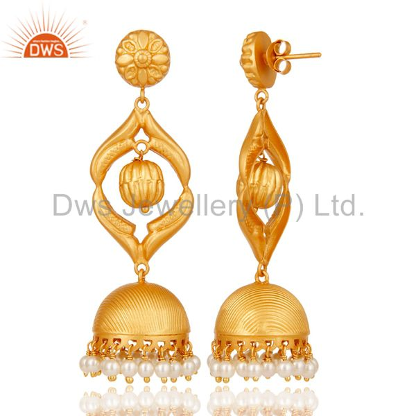 Exporter Cultured Pearl Traditional Jhumka Earring 18K Gold Plated Sterling Silver Jhumki