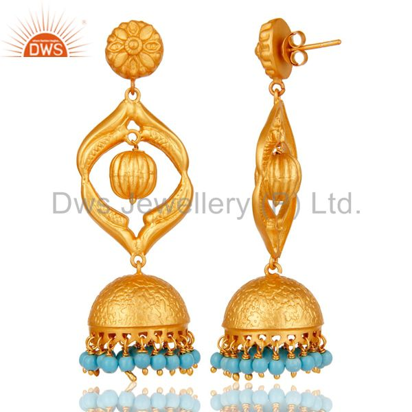 Exporter Turquoise Traditional Jhumka Earring 18K Gold Plated Sterling Silver Jhumki