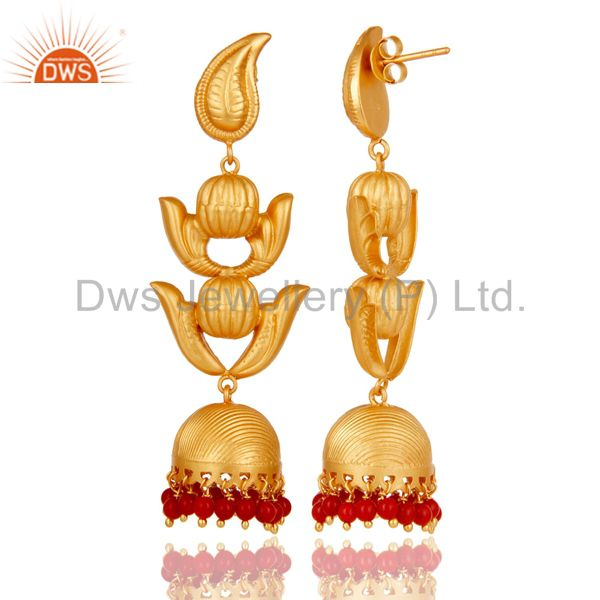 Exporter Traditional Jhumka Earring with 18K Gold Plated Sterling Silver and Coral