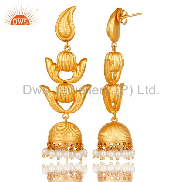 Exporter Traditional Jhumka Earring with 18K Gold Plated Sterling Silver and Pearl