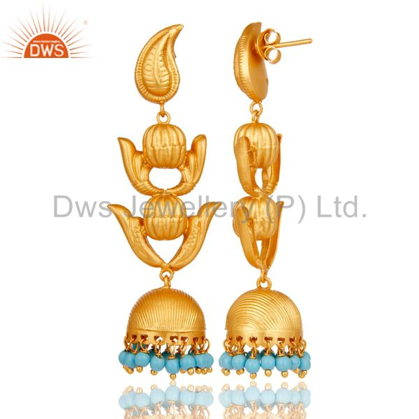 Exporter Traditional Jhumka Earring with 18K Gold Plated Sterling Silver and Turquoise