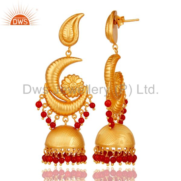 Exporter Traditional Jhumka Earring with 18K Gold Plated 925 Sterling Silver and Coral