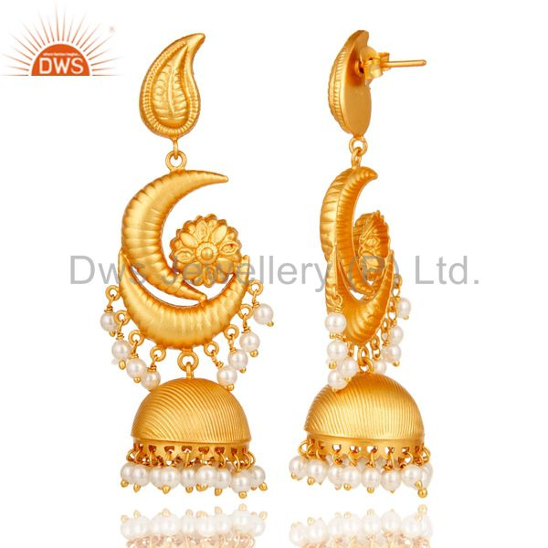 Exporter Traditional Jhumka Earrings With 18K Gold Plated Sterling Silver &  Pearl