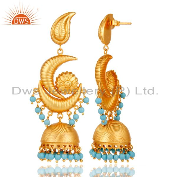 Exporter 18K Yellow Gold Plated 925 Sterling Silver Turquoise Traditional Jhumka Earring
