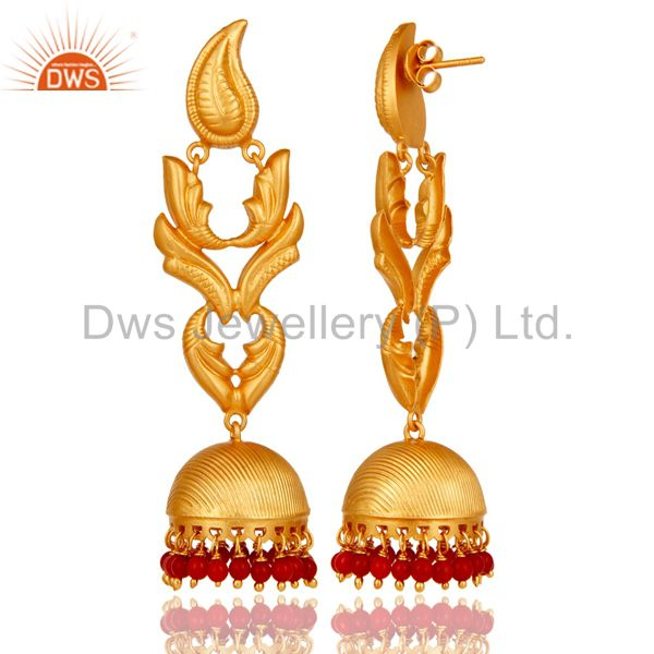 Exporter Traditional Jhumka Earrings With 18K Gold Plated 925 Sterling Silver And Coral