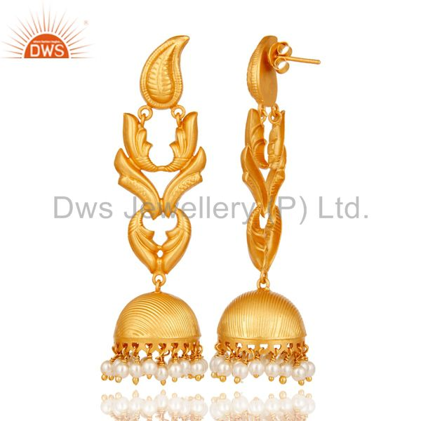 Exporter Traditional Jhumka Earrings With 18K Gold Plated 925 Sterling Silver & Pearl
