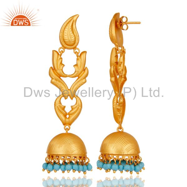 Exporter Traditional 18k Gold Plated Jhumka Earrings With Turquoise