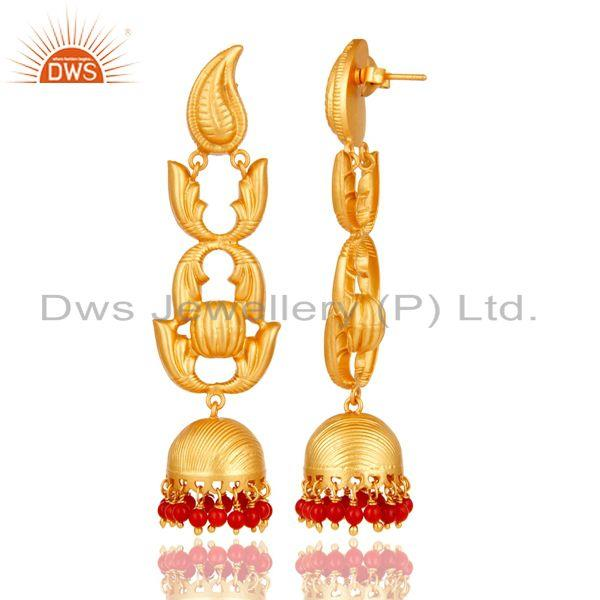 Exporter Traditional 18k Gold Plated Jhumka Earrings With Coral
