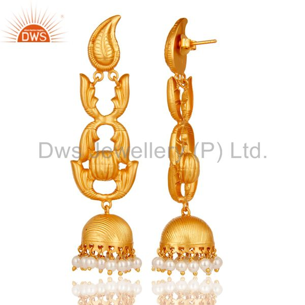 Exporter Traditional 18k Gold Plated Jhumka Earrings With Pearl