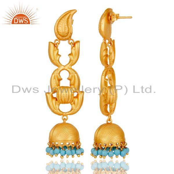 Exporter 18K Gold Plated Sterling Silver and Turquoise Traditional Jhumka Earrings