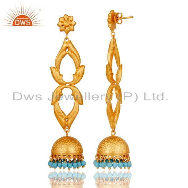 Exporter 18K Gold Plated Sterling Silver Cultured Turquoise Jhumka Earrings Jewellery