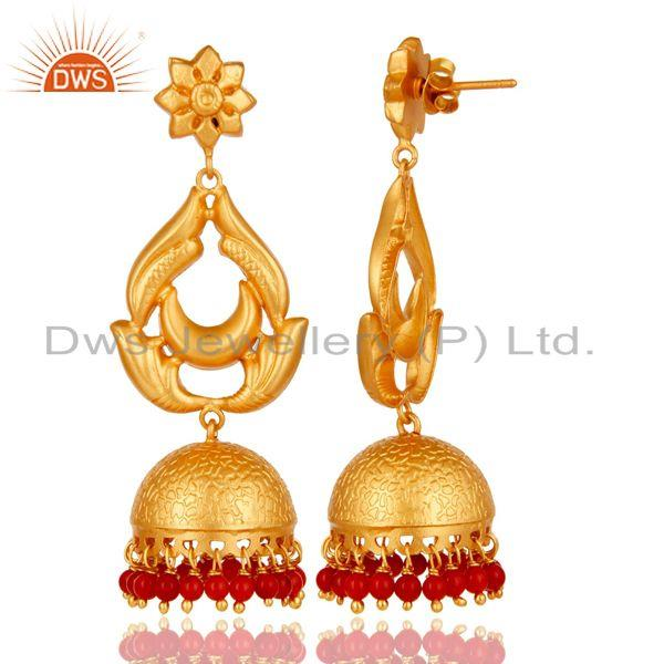 Exporter 18K Gold Plated Sterling Silver and Coral Traditional Design Jhumka Earrings