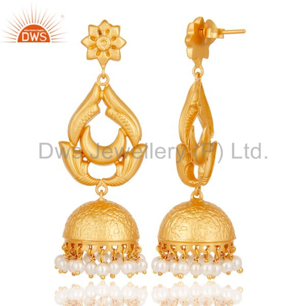 Exporter 18K Gold Plated Sterling Silver and Pearl Traditional Design Jhumka Earrings