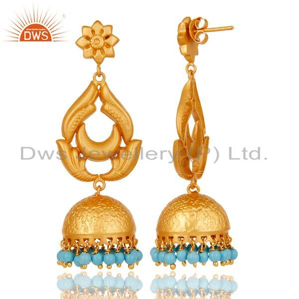 Exporter 18K Gold Plated 925 Sterling Silver Traditional Turquoise Jhumka Earrings