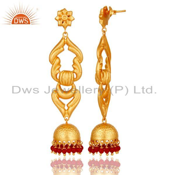 Exporter 18K Gold Plated Sterling Silver With Coral Traditional Design Jhumka Earrings