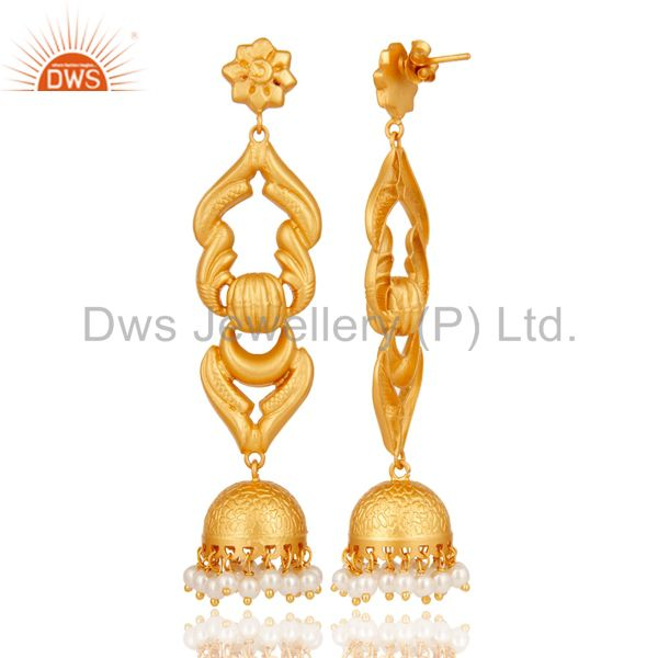 Exporter 18K Gold Plated Sterling Silver With Pearl Traditional Design Jhumka Earrings