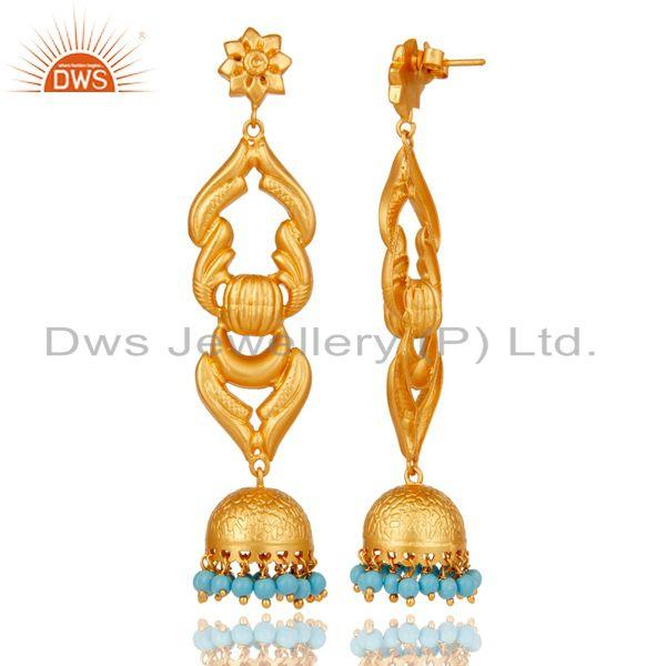Exporter 18K Gold Plated Traditional Jhumka Earrings With Sterling Silver and Turquoise