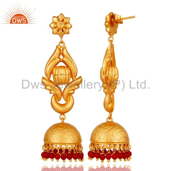 Exporter 18K Gold Plated Traditional Jhumka Earrings With 925 Sterling Silver and Coral