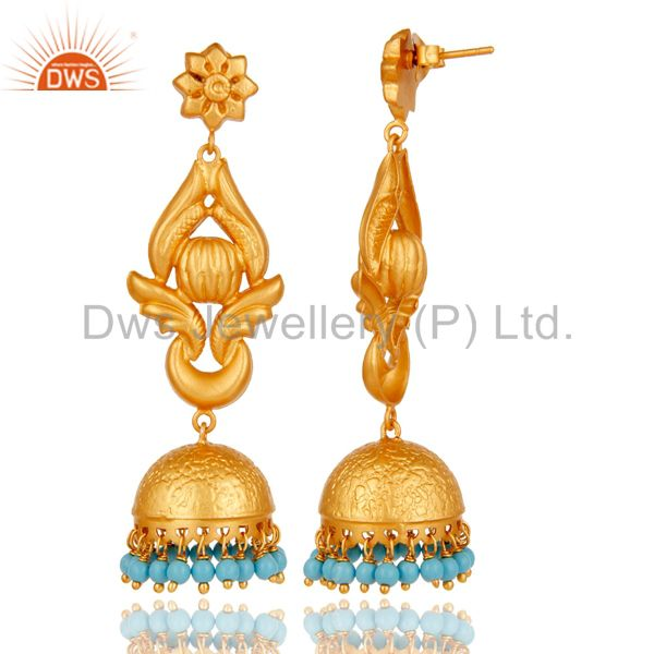 Exporter 22K Gold Plated 925 Silver Traditional Handmade Turquoise Jhumka Earrings