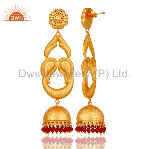 Exporter 18k Gold Plated Designer JhumkaEarrings With Sterling Silver And turquoise