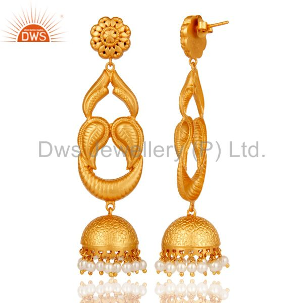 Exporter 18k Gold Plated Designer Jhumka Earrings With 925 Sterling Silver & Pearl