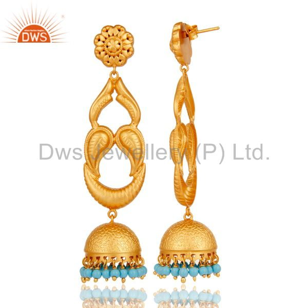 Exporter Turquoise Traditional Jhumka Earrings With 18k Gold Plated Sterling