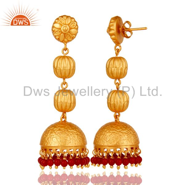 Exporter Tradional Coral Jhumka Earrings With 18K Gold Plated With Sterling Silver