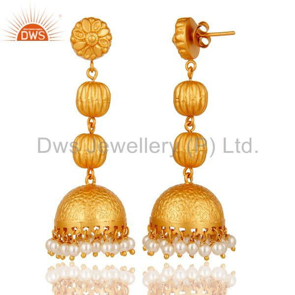 Exporter Tradional Pearl Jhumka Earrings With 18K Gold Plated With Sterling Silver
