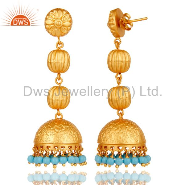 Exporter Traditional Handmade 925 Sterling Silver 18K Plated Turquoise Jhumka Earrings
