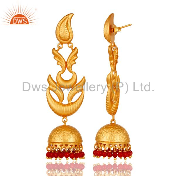 Exporter Tradional Coral Jhumka Earrings With 18K Gold Plated With 925 Sterling Silver