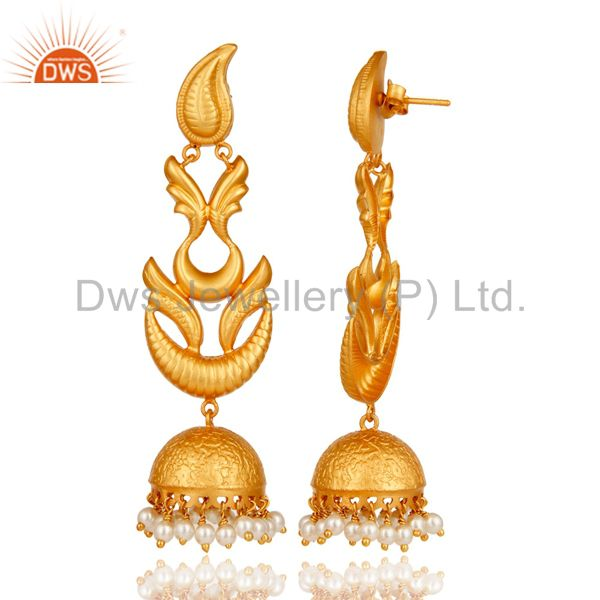 Exporter Handmade Pearl Jhumka Earrings With 18K Gold Plated With 925 Sterling Silver