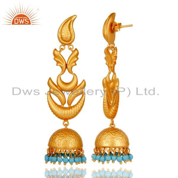 Exporter 18K Gold Plated 925 Sterling Silver Traditional Bollywood Jhumka Earring