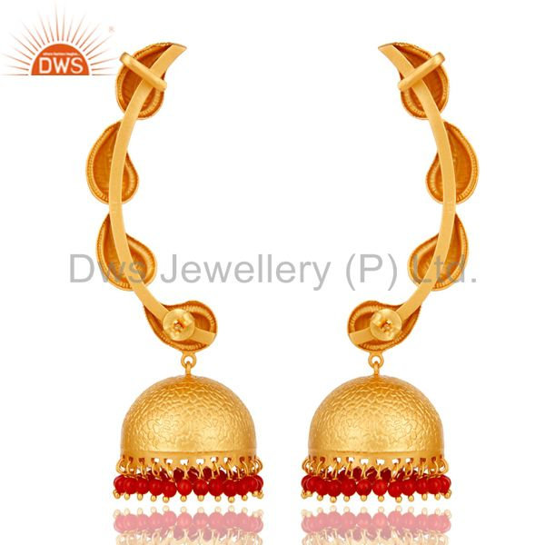 Exporter Traditional Jhumka Earrings 18k Gold Plated With Sterling Silver And Coral